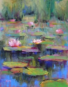 Water Lilies Pastel & Watercolor, painting by artist Karen Margulis