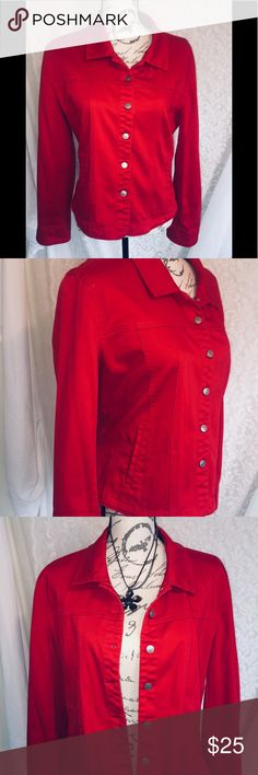 """Live A Little Jacket in bright red size XL So fun!  I love this jacket! It has a nice stretch for comfort.  Dress it up or down. It adds a nice pop of color to an otherwise drab outfit!   Laying flat measurements   Chest 21"""" Waist 20"""" Hem 21"""" Length 22""""  🌹Necklace is also available for purchase, in my closet Live A Little Jackets & Coats"""