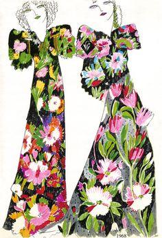 Frantic times with Frances Lynn, Celia Birtwell and Amanda Lear Floral Fashion, 70s Fashion, Fashion History, Fashion Prints, Vintage Fashion, Fashion Design, Fashion Textiles, Textile Design, Fabric Design