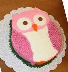 This cute little owl is for a special little lady turning 2. It is a vanilla cake (carved into the owl shape)with vanilla cream chee...