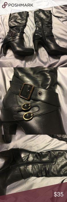 "Diba black leather boot Zip closure. 3.5"" heel. Made in Brazil. Diba Shoes Heeled Boots"