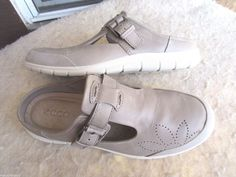 Ecco women shoes 40 / 9 - 9.5 Grey Leather #ECCO #Clogs #Casual