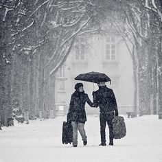 Beautiful Winter photography... And I love seeing couples holding hands...