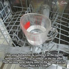 Dishwasher cleaning: Run on highest temp with a cup of vinegar on the top rack then run again with some baking soda on the bottom of the dishwasher.  Super clean!