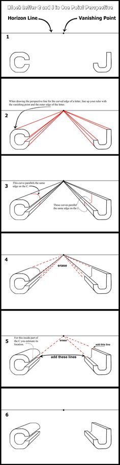 How to draw letters in perspective.