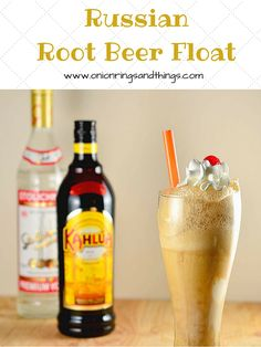 Russian Root Beer Float is a creamy concoction made with Kahlua, Vodka, ice cream and root beer