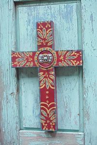 Crosses, red, peeling paint, turquoise...$115.00 (wonder if Roberta could make me something like this for FAR cheaper)