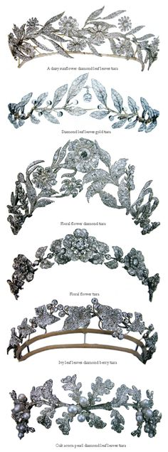 Floral and Leafy Diadems / Tiaras. Pictures From Maries Jewels Royals Blog.
