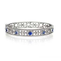 Penny Preville True Blue 18K White Gold Sapphire & Diamond Bangle Bracelet
