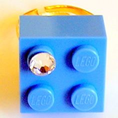 Light Blue LEGO R brick 2x2 with a Diamond by MademoiselleAlma, $13.99