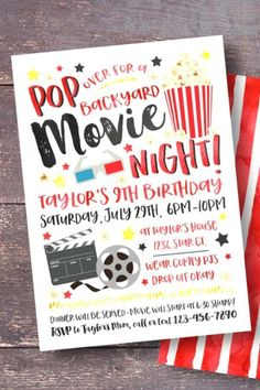 Get the word out about the party of the year by sending out these cool movie night party invitations. The movie-themed illustrations are fantastic and will surely be hit with all your guests. See more party ideas and share yours at CatchMyParty.com #catchmyparty #partyideas #movienight #movienightparty #movienightpartyinvitation Girls Birthday Party Themes, First Birthday Parties, Girl Birthday, 13th Birthday, Movie Night Invitations, Birthday Invitations, Movie Night Party, Movie Nights, Sweet 16 Themes
