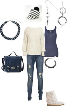 """""""navy and white casual winter outfit"""" by lennyrie on Polyvore"""