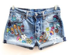 Hand Painted Psychedelic Mushroom Vintage Cut Offs By by HAMELWOOD, $395.00