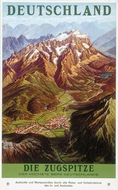 Vintage Travel Poster - Die Zugspitze - The Highest Mountain of Germany - by Ruep.