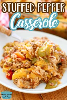 The Best Stuffed Pepper Casserole is a deliciously easy and tasty dinner recipe! Ground beef, rice, tomatoes, garlic, cheese and seasonings! Casserole Dishes, Casserole Recipes, Meat Recipes, Cooking Recipes, Pepper Recipes, Recipies, Stuffed Pepper Casserole, Stuffed Peppers, Food Dishes