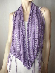T-Shirt Scarf Directions | shredded braided fringed jersey eternity scarf scarf