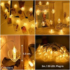Lights 20 Heart Photo Clip LED String Light Material: Plastic Waterproof: Yes Pack: Pack of 1 Cable Length: 3 M Country of Origin: India Sizes Available: Free Size   Catalog Rating: ★4.2 (1024)  Catalog Name: Trendy Indoor String Lights CatalogID_2689180 C127-SC1620 Code: 023-13655615-447