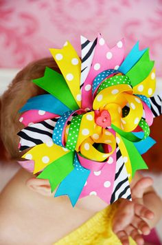 Colorful Summer Boutique Bow OTT Pink Zebra by BananaPickleDesigns, $12.00
