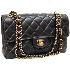 Chanel Black Quilted Lambskin Classic Double-sided Flap Coco Bag ❤ liked on Polyvore