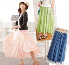 Hot Sales Wide Hem Mix Match Candy Color Long Skirt For Women (TARMAC,FREE SIZE) China Wholesale - Sammydress.com
