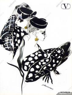 Refined drawing for Valentino, 1984 Fashion Illustrations Tony Viramontes. Fashion Prints, Fashion Art, Vintage Fashion, Fall Fashion, Hipster Graphic Tees, Fashion Sketches, Fashion Drawings, Fashion Illustrations, Moda Vintage