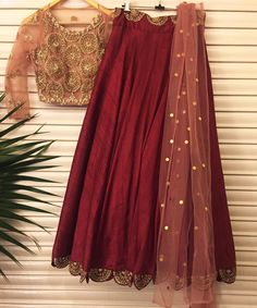 Dark Red and gold are the color of the season! Razzle Dazzle in this signature piece for a perfect winter wedding.  bhumikasharma  wintercollection  new  designer  indianwear  lehenga  chanderi  florals  signature  bridesofindia  winterbrides  10 December 2016