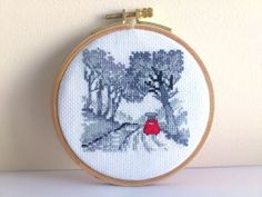 Mini gobelin Hand Embroidery Hoop PerminRed by SilviArtGobelins, $45.00