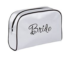 Lillian Rose 9-Inch by 6.5-Inch Bride Travel Bag, Medium, White -- Wow! I love this. Check it out now! : Travel cosmetic bag