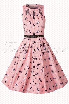 Vixen - 50s Jasmin Pink Swing Dress with Black Cats
