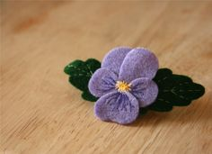Hand Embroidered Sweet Viola Felt Brooch