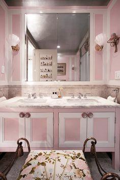Rose Metallic Paint by Modern Masters in a Glam Bath | Interior Design by Sasha Bikoff