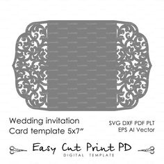 "Wedding invitation Pattern Card 5x7"" Template Lace folds (studio V3, svg, dxf, ai, eps, png, pdf) lasercut Instant Download Silhouette Cameo"