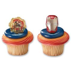DecoPac Cupcake Rings Iron Man 3 Two Designs 12 Pieces >>> For more information, visit image link. Iron Man Helmet, Iron Man 3, Iron Man Cupcakes, Iron Man Birthday, Cake Supplies, Summer Picnic, Decorating Tools, Cool Things To Buy, Ale