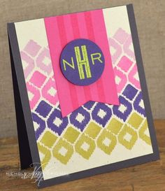 Monogram Card by Nichole Heady for Papertrey Ink (February 2013)