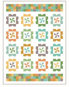 Darling fall quilt idea - pattern is Sweet Wishes by Andy Knowlton. Love the pinhweel blocks and patchwork border. Pattern is from the Fresh Fat Quarter Quilts book. Would be a cute scrappy quilt project! Quilting Tutorials, Quilting Projects, Quilting Designs, Fall Quilts, Scrappy Quilts, Modern Quilt Patterns, Quilt Patterns Free, Fall Sewing Projects, Fat Quarter Quilt