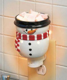 SNOWMAN Holiday Wax Tart Warmer Night Light Bathroom Kitchen Office Christmas