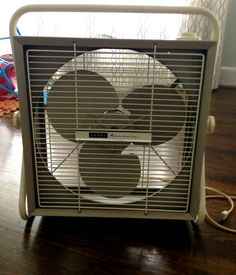 Vintage Sears Kenmore Square Box 3 Speed Fan with Stand