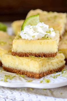 Tart, tangy and sweet, these creamy Key Lime Cheesecake bars are sure to be a crowd pleaser!
