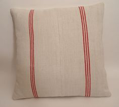 Grain Sack Red Stripes Pillow Cover / Rustic Beach Cottage Pillow / Nautical Decor / Rustic Farmhouse Style
