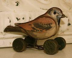 Little bird pull toy, wood Antique Decor, Antique Toys, Vintage Toys, Vintage Antiques, Pull Toy, Bird Toys, Little Birds, Bird Art, Bird Feathers