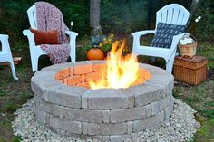 "What you will need for a four-tiered fire pit: 48 10.25"" X 7"" tumbled stone wall blocks (in choice of color) / 48 3.5"" X 7"" mini tumbled stone wall blocks (in choice of color) / 6 bags of river rock (in choice of color) /  Weedkiller (optional) / Tools: rake, hoe, shovel, 3-4 foot level. Decide where you will locate your fire pit, preferably a location that is flat and level.  For safety purposes, avoid placing your fire pit under low hanging tree branches and ne..."