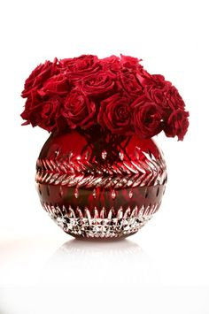"""Waterford Crystal Fleurology - Meg 12"""" Ruby Rose Bowl available at Gamble's Gifts in Springfield, MO."""