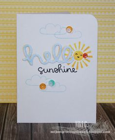 Lawn Fawn - Hello Sunshine, Let's Roll (smiley), Scripty Hello, Hello Sunshine Mixed Sequins _ really clever Hello Sunshine card by Niki via Flickr - Photo Sharing!