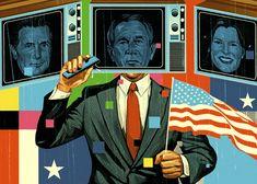 "Tavis Coburn - President -  Illustration for GQ Magazine's monthly ""The Critic"" column by Tom Carson."