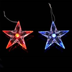 Clear crystal stars with flashing LED colour changing lights. Ideal for Christmas tree hanging decorations. Size is about Order Quantity: 1 Pack of 4 Stars Xmas Tree Decorations, Hanging Decorations, Festival Decorations, Color Changing Lights, Button Cell, Star Shape, Clear Crystal, Colour, Christmas Ornaments