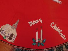Vintage Large Handmade Red Felt Christmas Tree Skirt Sequins Church Tree Kitten