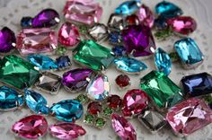 Let's gem! mix lot 30pc lucky bag rhinestone colorful by MissVirgocraftsupply, sew on acrylic gem, sewing on fashion, making headpiece and handcraft project