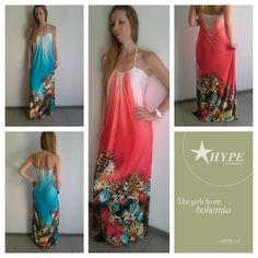 Φόρεμα μάξι εμπριμέ με δέσιμο στο λαιμό. shop on line : hype.gr