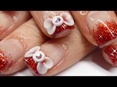 ▶ How to acrylic nails - 3D bow and red sparkles - YouTube