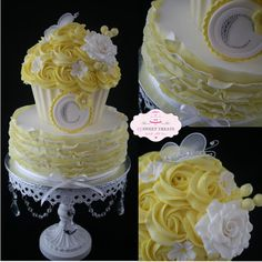 Lemon & White Rosettes & Ruffles - Absolutely loved making this cake! Bottom tier was caramel mud and covered in fondant ruffles marbled yellow and white. Top tier was a giant cupcake in vanilla in a white chocolate case with yellow buttercream rosette swirls. It was for my niece Courtney Rose…..'C' for Courtney and a rose x